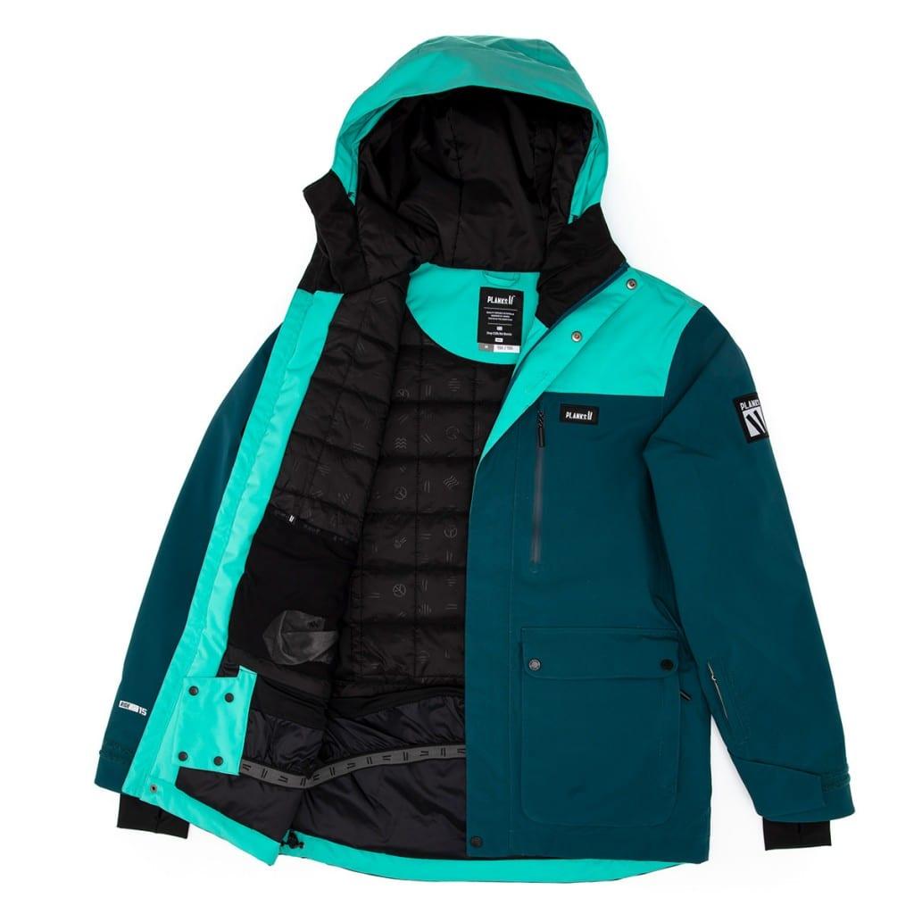 Dark turquoise rain jacket with inside details reveal, using layflat clothing product photography.