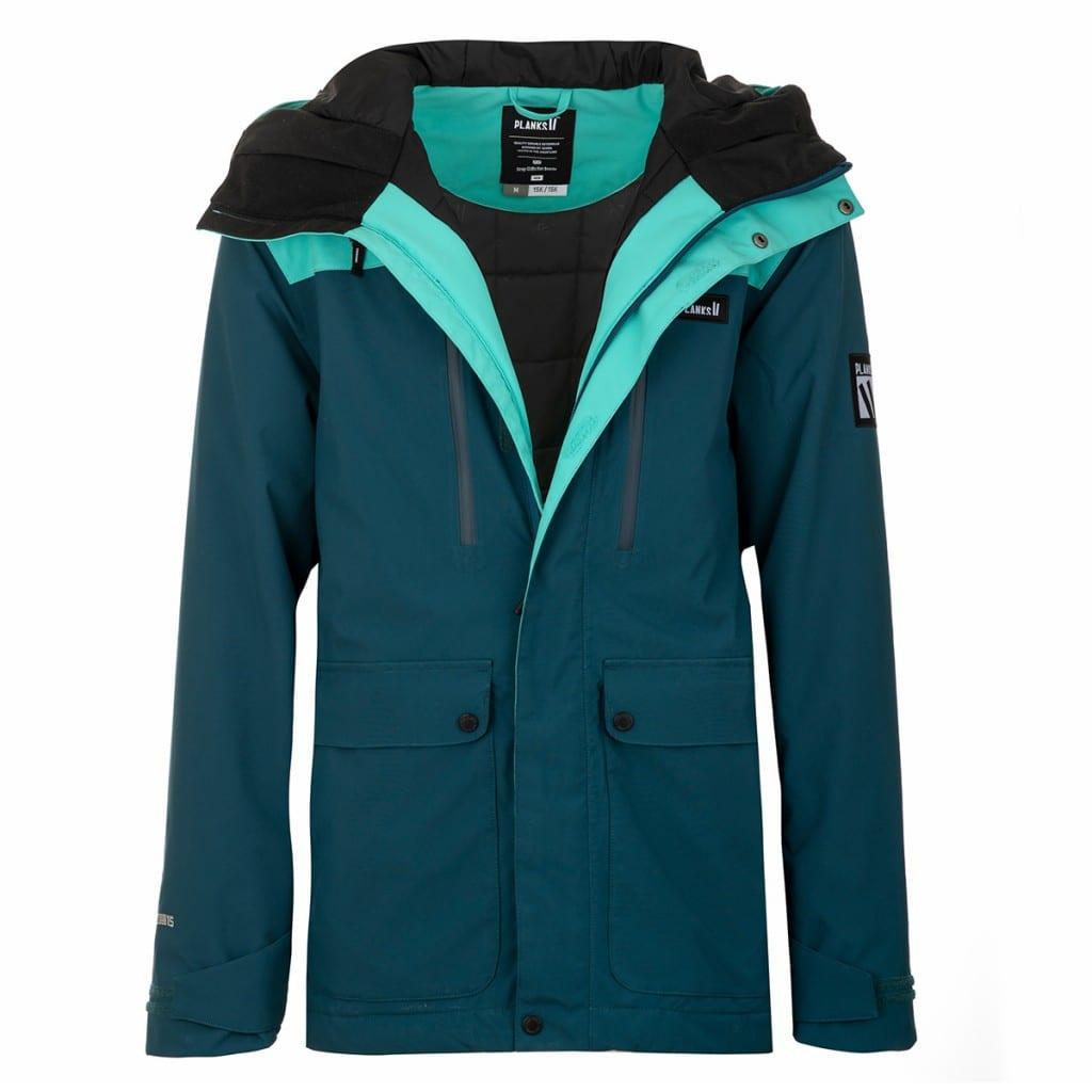Dark turquoise rain jacket with coat zipped up, using layflat clothing product photography.