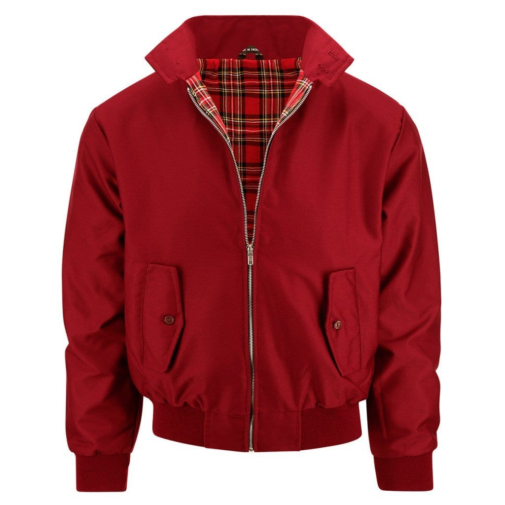 Red jacket (simple retouching) with tartan inside detail revealed, using clothing product photography.