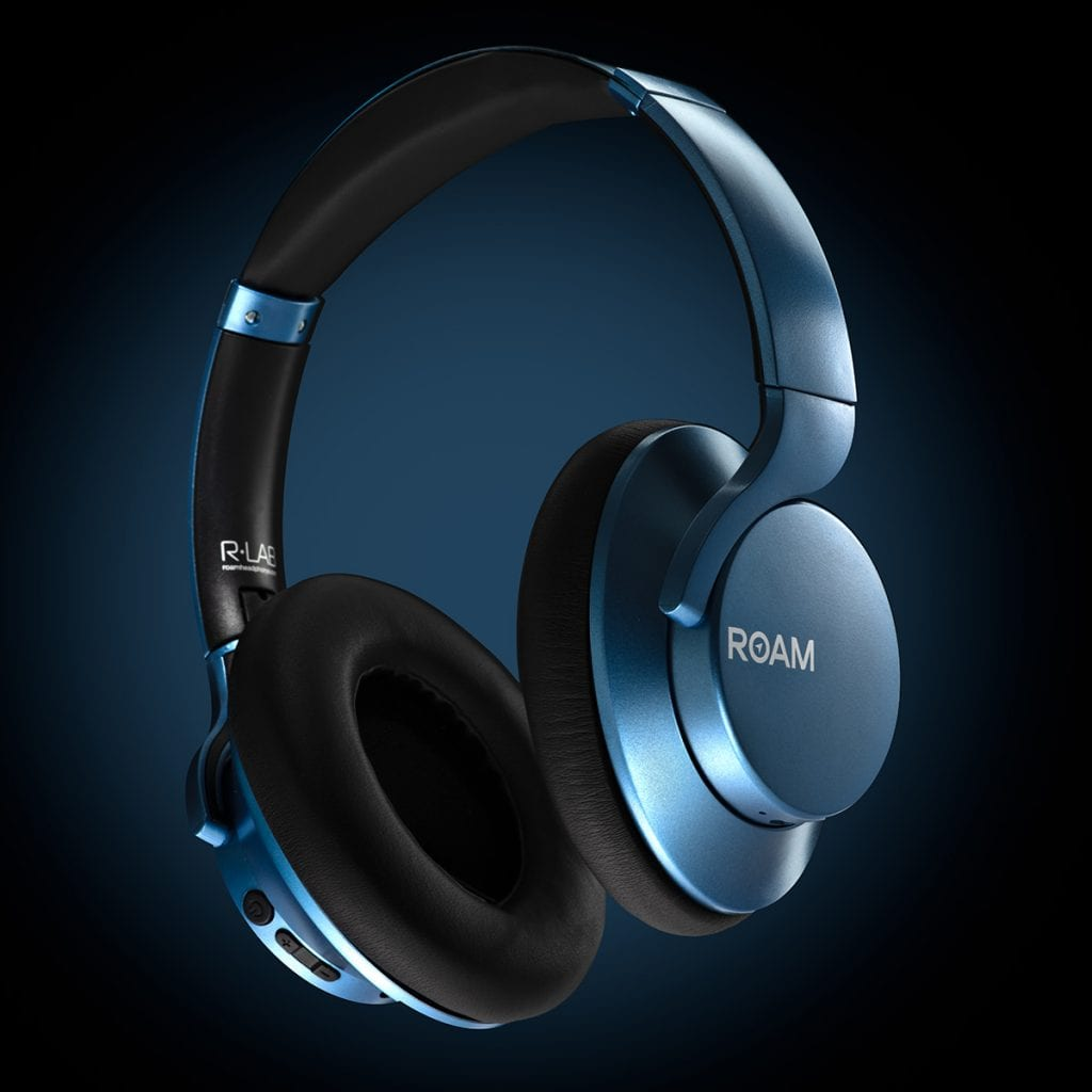 Blue Roam headphones hovering over a blue gradient background with creative product photography lighting.