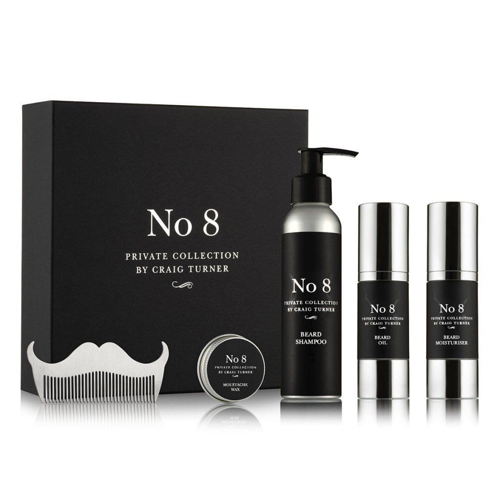 Product photography showing male grooming set on white background.