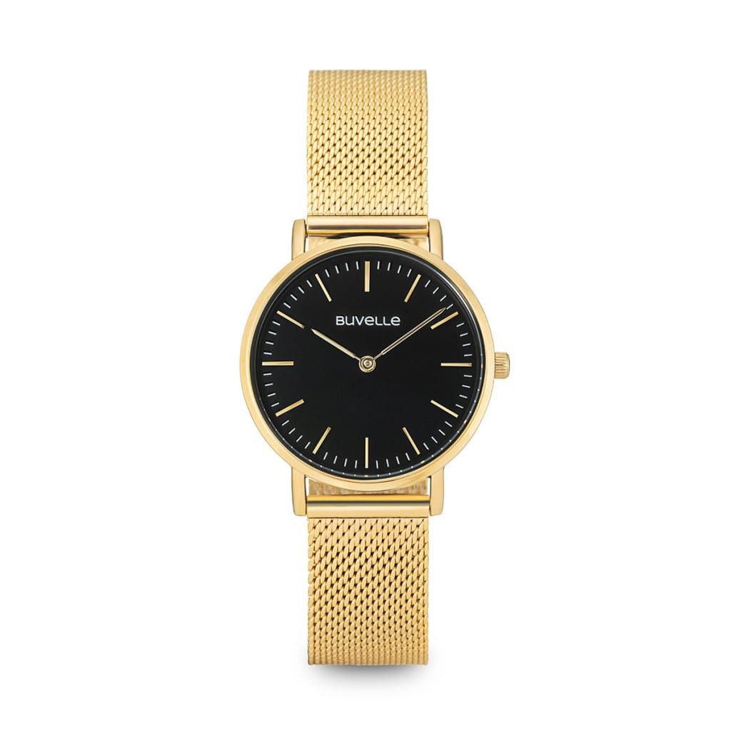 Gold watch with a round black face and gold details, showing product photography.
