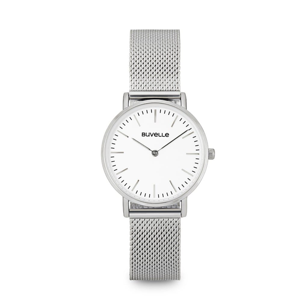 Silver watch with white face and silver details, showing product photography.