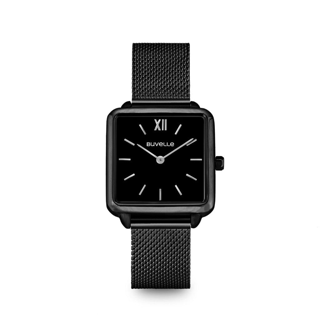 Black watch with black square face with silver details, showing product photography.