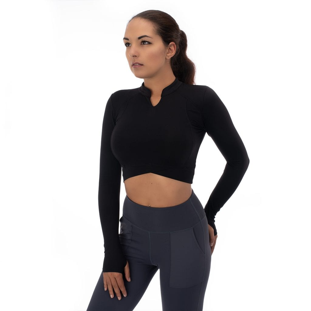 Model wearing sports clothes shows functional products in Clothes Model Product Photography.