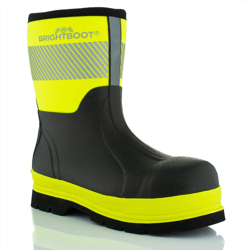 Reflective high visibility boots showing reflective product photography on a white background.